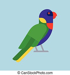 Parrot green bird breed species animal nature tropical parakeets education colorful pet vector illustration