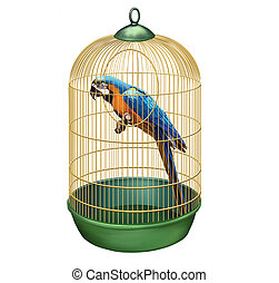 Parrot in a retro cage. Big Blue macaw (Ara ararauna) in bird cage