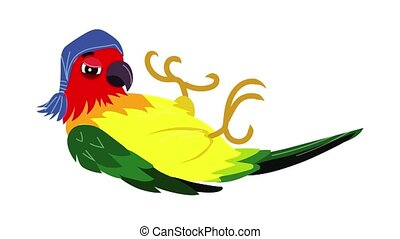 Parrot lies icon animation cartoon object on white background