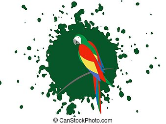 parrot logo idea design, beautiful scarlet macaw bird in natural color, vector illustration isolated on green splash background