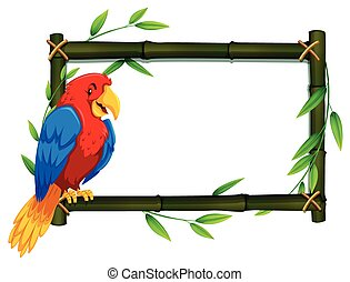 Parrot on bamboo frame