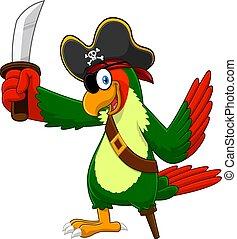 Parrot Pirate Bird Cartoon Character With Sword