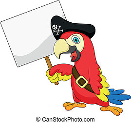 Parrot pirate cartoon with blank si