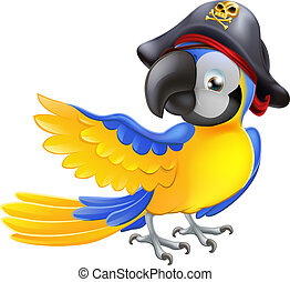 Parrot pirate character - A blue cartoon parrot with a...