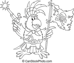 Parrot pirate - Parrot with a pirate flag, pistol and saber,...