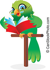 Parrot reading a book Cartoon - Cartoon of a parrot reading...