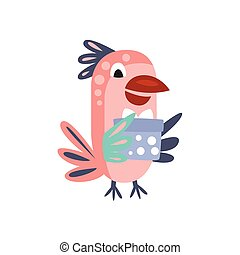 Parrot With Party Attributes Girly Stylized Funky Sticker