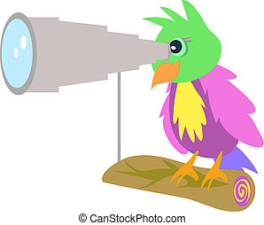 Parrot with Telescope - This colorful parrot is getting a ...
