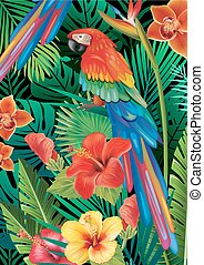 Parrot with tropical plants