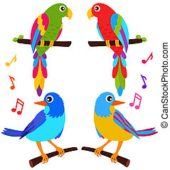 Parrots and Birds - A colorful vector Icons : Parrots and...