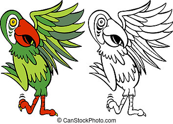 parrots - Parrot Cartoon Character isolated on a white...