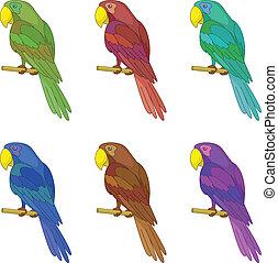 Parrots on a pole, set