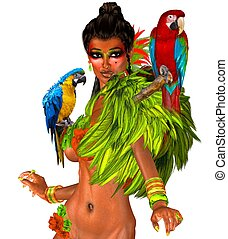 Parrots on sexy womans shoulders