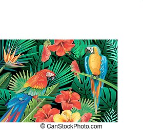 Parrots with tropical plants