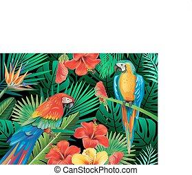 Parrots with tropical plants