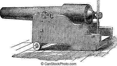 Parrott rifle or Parrott cannon vintage engraving. - Parrott...