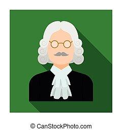 parrucca, appartamento, stile, illustration., simbolo, criminal.prison, glasses., persona, singolo, vettore, verdetto, giudice, icona, marche, casato