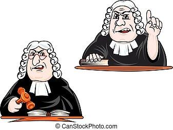 parrucca, martelletto, giudice, cartone animato, caratteri