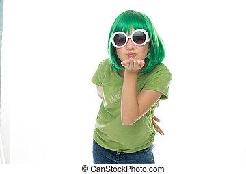 parrucca, occhiali da sole, romantico, giovane, verde, ragazza