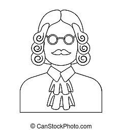 parrucca, stile, illustration., icona, simbolo, criminal.prison, glasses., persona, singolo, vettore, verdetto, giudice, casato, marche, contorno
