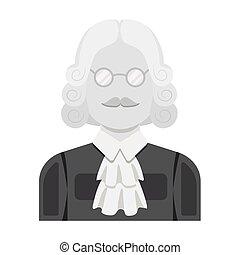 parrucca, stile, illustration., simbolo, criminal.prison, glasses., persona, singolo, vettore, verdetto, giudice, monocromatico, icona, marche, casato