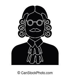 parrucca, stile, illustration., simbolo, criminal.prison, glasses., persona, singolo, vettore, verdetto, giudice, nero, icona, marche, casato