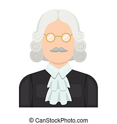 parrucca, stile, illustration., simbolo, criminal.prison, glasses., persona, singolo, vettore, verdetto, giudice, icona, marche, cartone animato, casato