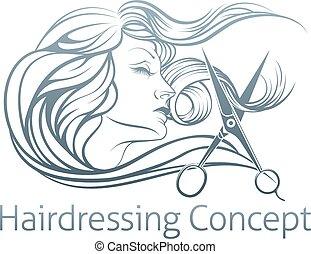 parrucchiere, concetto, donna, scissor