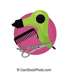 parrucchiere, icona, fon, pettine, forbici, salone, simboli, cartone animato, vettore, illustrazione