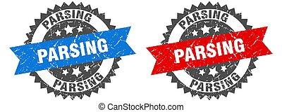 parsing grunge stamp set. parsing band sign
