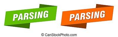 parsing ribbon label sign set. parsing banner