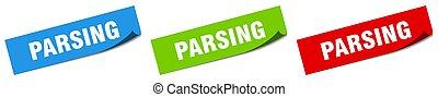 parsing paper peeler sign set. parsing sticker