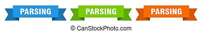 parsing ribbon. parsing isolated paper banner. sign
