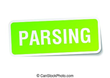 parsing square sticker on white