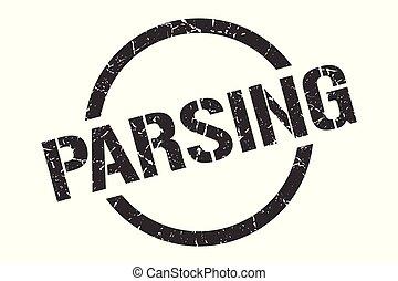 parsing black round stamp