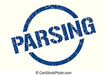 parsing blue round stamp
