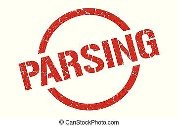parsing red round stamp