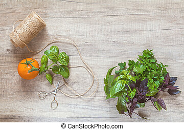 Parsley and basil bunch of bouquets, yellow tomato, scissors and rope cord on light wooden surface.