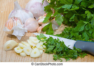 Parsley and garlic - a bunch of fresh parsley and a some ...