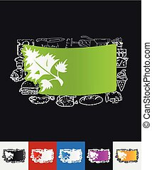 parsley, dill paper sticker with hand drawn elements
