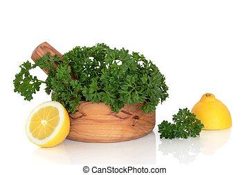 Parsley Herb and Lemon Halves