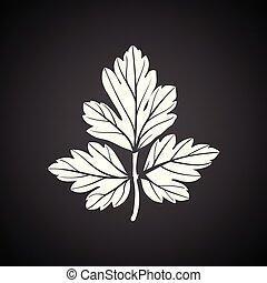 Parsley icon. Black background with white. Vector...