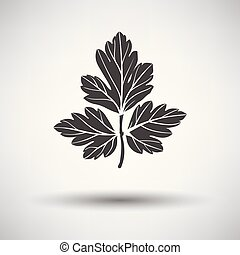 Parsley icon on gray background, round shadow. Vector...