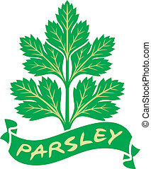 parsley label (parsley symbol, green leaves of parsley)