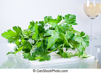 Parsley on cutting board close up