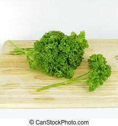 parsley on cutting board