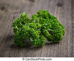 parsley on old wooden