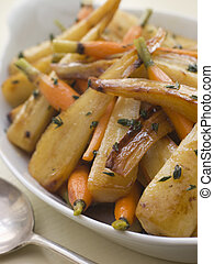 Parsnips and Baby Carrots Roasted in Thyme and Honey