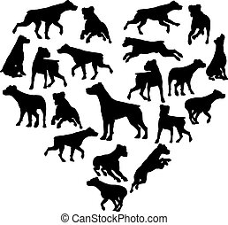 Parsons Terrier Dog Heart Silhouette Concept
