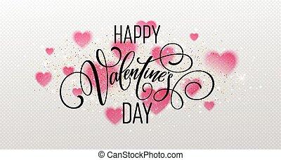 partícula, fundo, efeito, brilhar,  valentines, cintilante, Dia, realístico,  Glowing, vetorial, Ilustração, corações, caligrafia,  lettering, transparente, vermelho